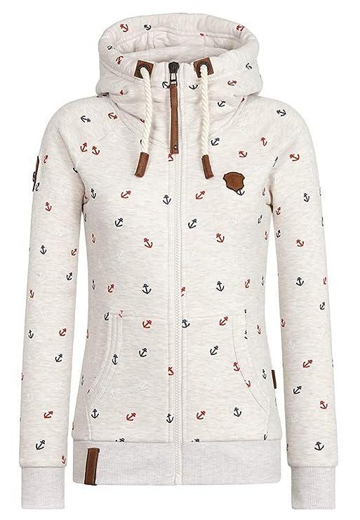 EwigYou Damen Baumwolle Kapuzenjacke Hoodie mit Fleece-Innenseite Sweatshirt Herbst Winter Große Größen Übergangsjacke Sweatj
