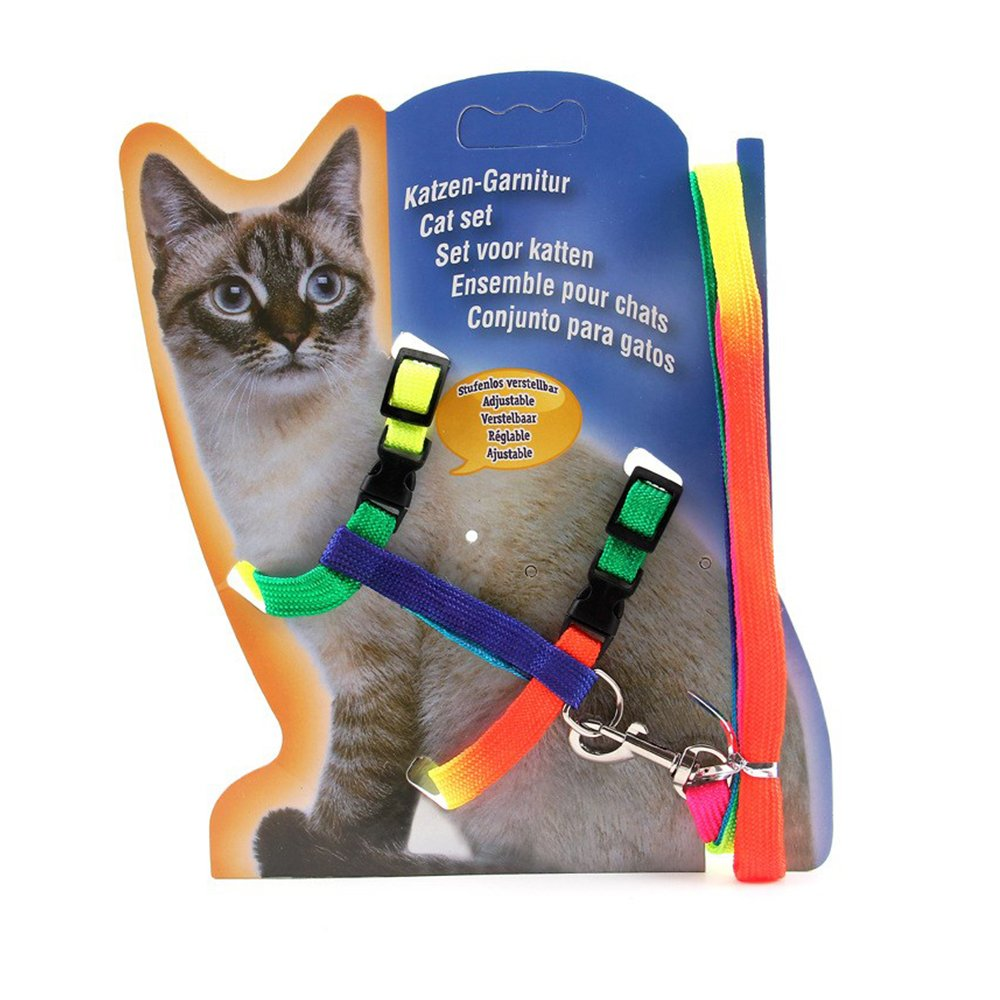 Pet Supplies : XPangle Adjustable Cat Walking Harness Nylon Strap Collar with Leash, Cat Leash and Harness Set Escape Proof (Colour) : Amazon.com