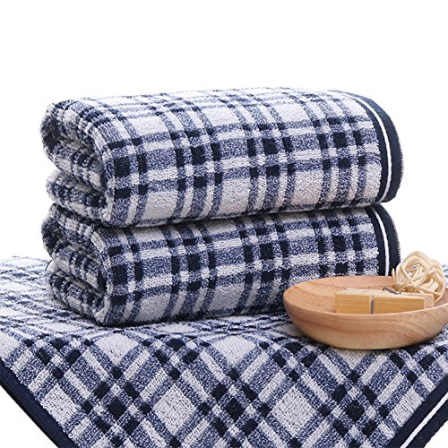 Pidada 100% Cotton Hand Towels Plaid Pattern Super Soft Highly Absorbent Luxury Towel for Bathroom 14 x 29 Inch Set of 2 (Blue)