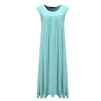 aca510f2297 Cotton Casual Loose DresO Neck Short Sleeve Beach Vestidos Plus Size at  Amazon Women s Clothing store
