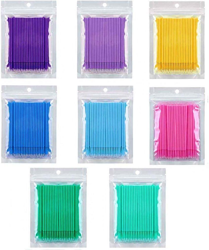 Kalolary 800 PCS desechables Micro extensión aplicador de brocha adhesivo de extensión desechable Herramientas de eliminación de pestañas para injertos de pestañas para maquillaje oral y limpio