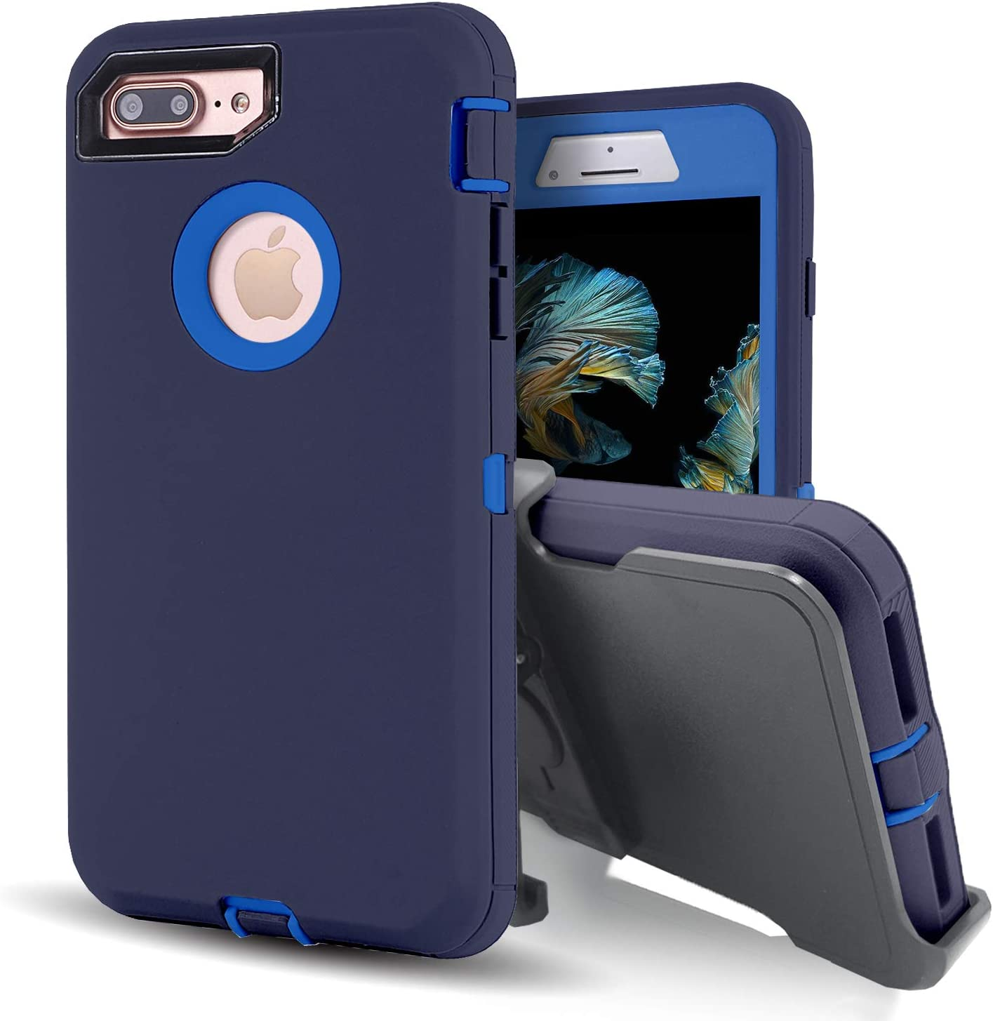 Vodico iPhone 8 Plus Case with Screen Protector,iPhone 7 Plus Protective Phone Cases for Men/Women, Heavy Duty Shockproof Defender Full Body Military Grade Stand Holster Cover with Belt Clip (Navy)