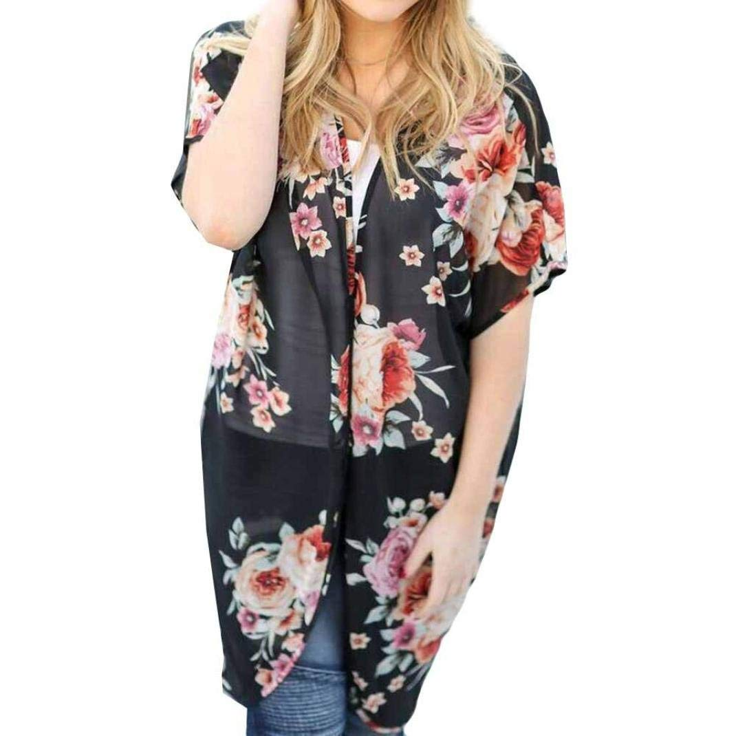 Go-First Beach Cardigan for Women Summer Lightweight Cozy Slim Fit Dress with Floral Pattern Cotton Elegant Short Sleeve Shawl (Color : Black, Size : M)