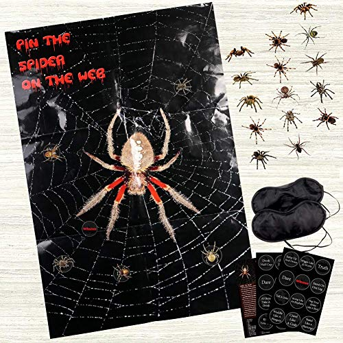 AerWo Halloween Party Games Decorations, Pin The Spider On The Web Game, 31.5