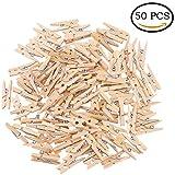 JOKHOO Natural Wood Mini Craft Clothespins,50 Per Pack (Wood, 7.2×1.0 cm)
