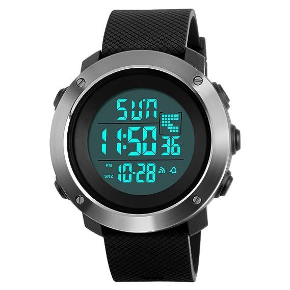 Reloj Digital para Hombre con Pantalla LED Grande e Impermeable, Alarma, cronómetro, luz de Fondo, Reloj Casual al Aire Libre: Amazon.es: Relojes