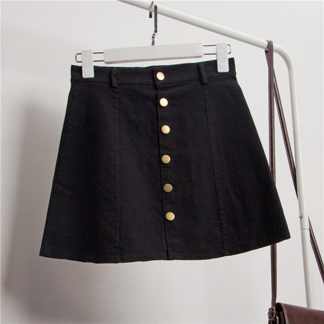 e9325a724 ESAILQ Skirts, Women's Fashion Waist Skirt Korean Style Denim Skirt YE L:  Amazon.co.uk: Clothing
