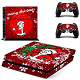 Golden Merry Christmas Santa Claus Playstation 4 Video Games Skin Decal Cover for PS4 Console and Dualshock4 Controllers