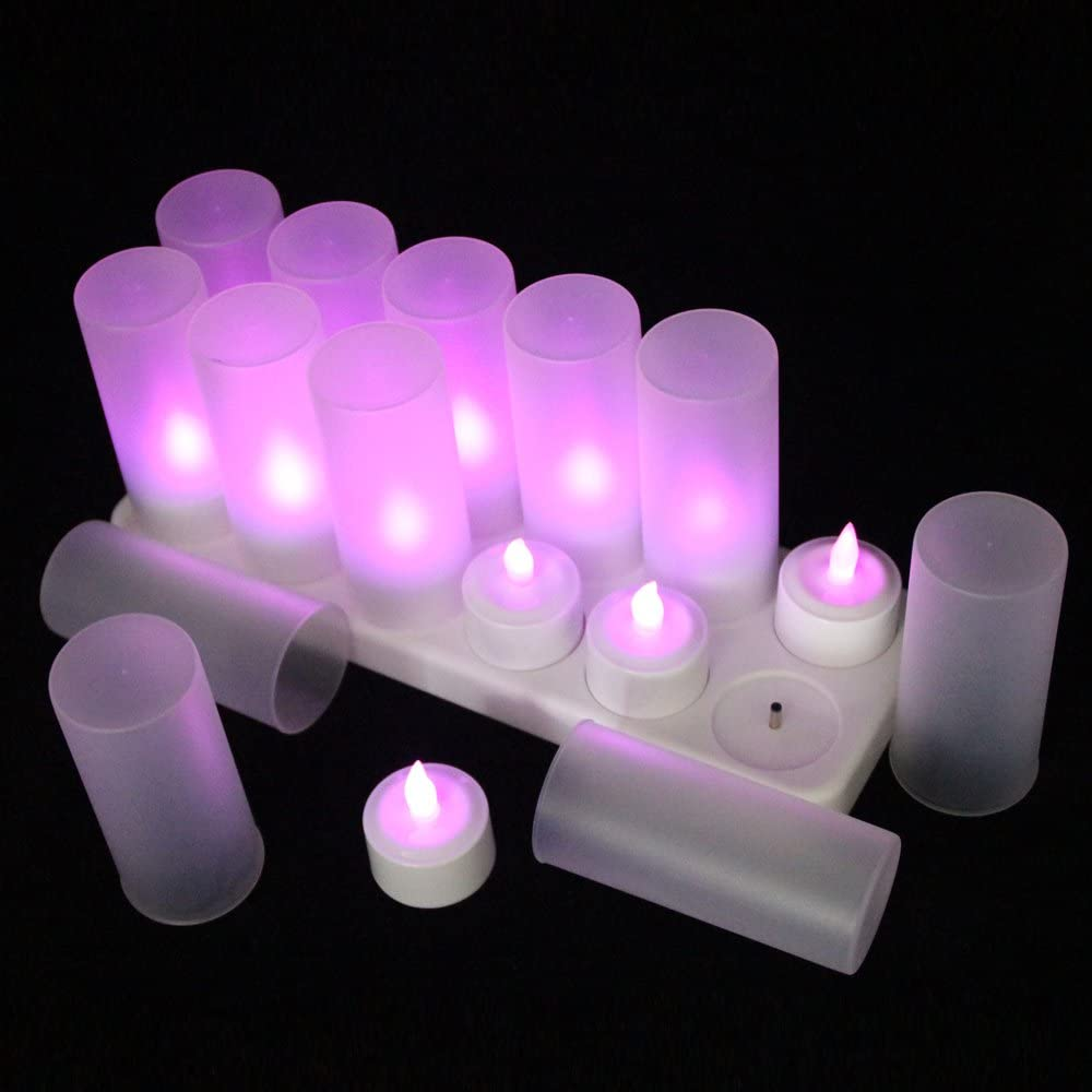 12pcs EuroFone Rechargeable LED Candles Tealight Cold White Candle Flameless with Charging Station Holder
