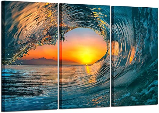Amazon Com Kreative Arts Large 3 Pieces Canvas Prints Wall Art Sunset Sea Water Ocean Wave Pictures Paintings Modern Stretched And Framed Seascape Giclee Artwork Ready To Hang For Living Room Home Decorations