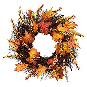 Artificial Sunflower Pumpkin Pinecone and Maple Leaf Wreath with Berry Lights for Halloween and Thanksgiving Home Indoor or Outdoor Arrangement Decoration 47