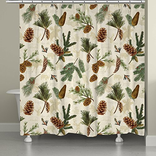 (Laural Home Evergreen Pinecones Shower)