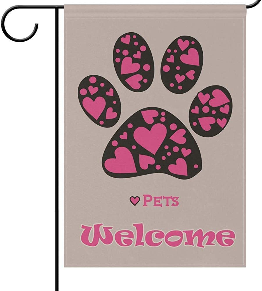 jiaxingdalin Bienvenido Patas Banderas de jardín para Perros Cachorro Gracioso Mascota Amor Animales Dulce Rosa Pata de corazón Perro Gato Jardín Patio Bandera al Aire Libre Bandera para Fiestas
