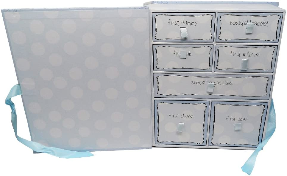 Little Miracles Keepsake Boxes- Blue: Includes: First Dummy First Mittens First Bib First Shoes First Scan Hospital Bracelet Special Keepsakes