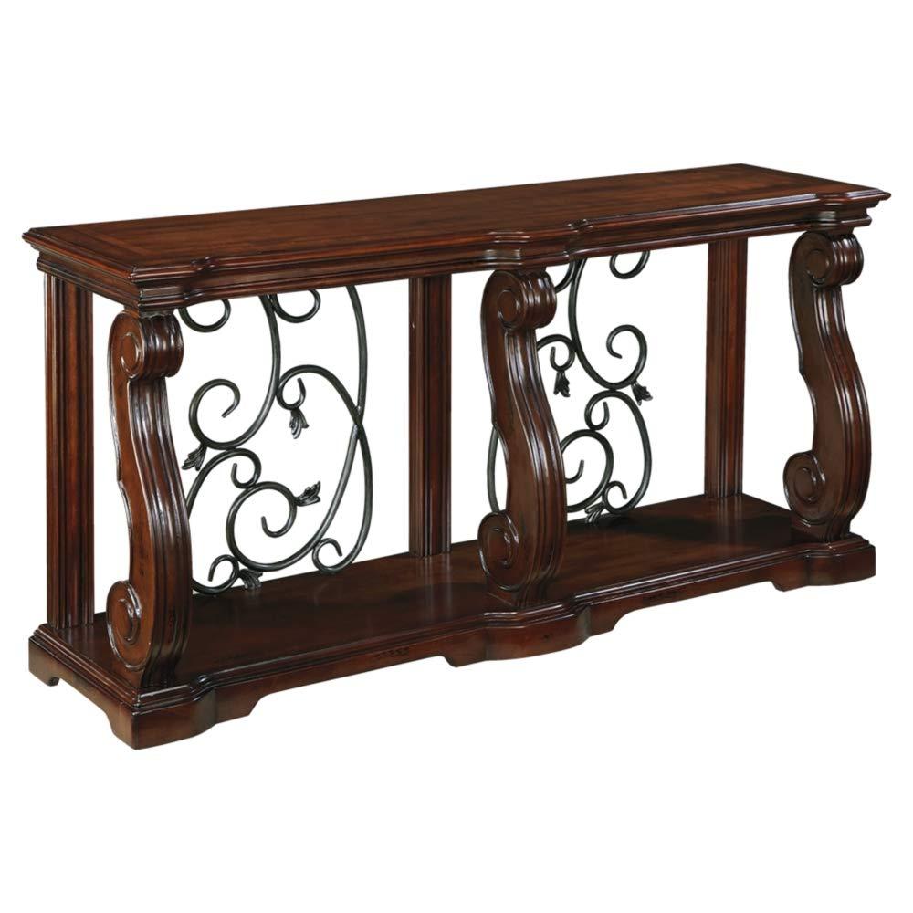Ashley Furniture Signature Design - Alymere Sofa Table or Entertainment Console - Rectangular - Rustic Brown by Signature Design by Ashley