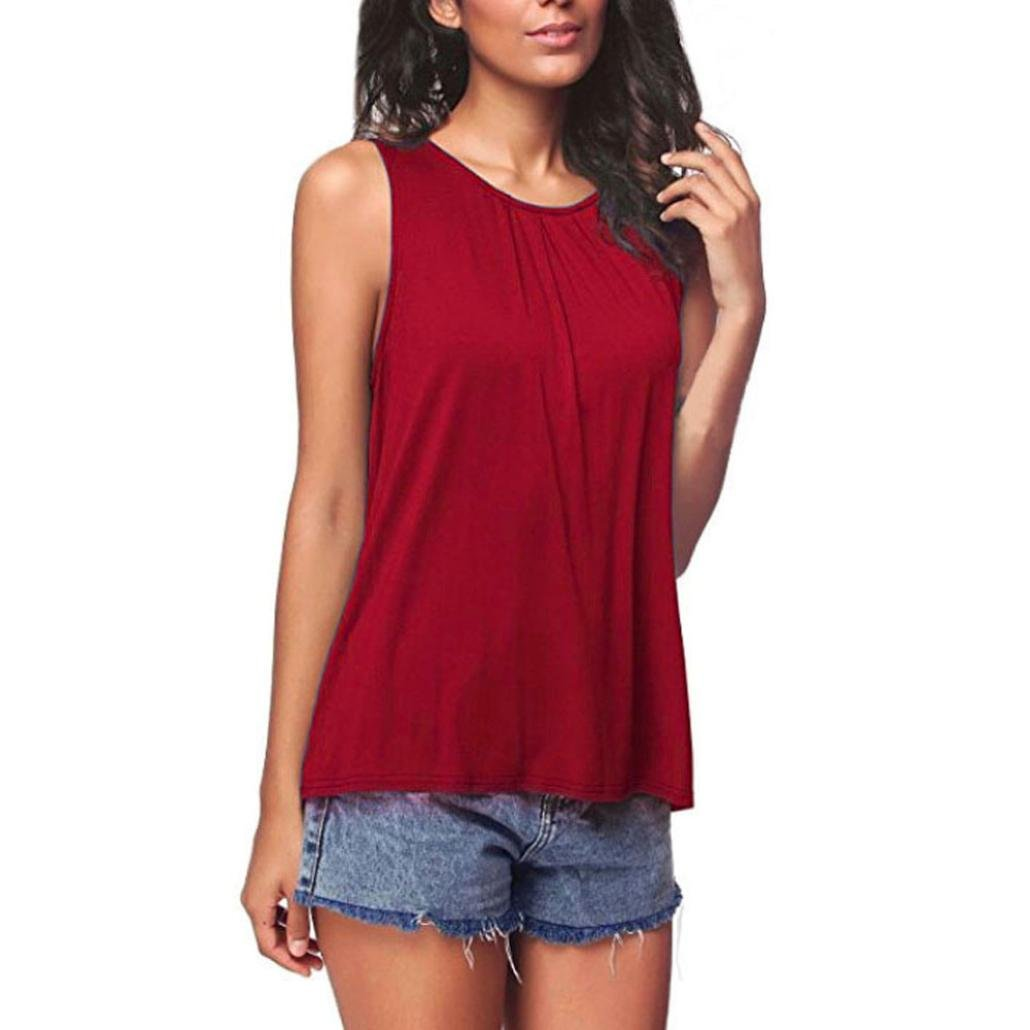 Ouneed Blouse Clearance! ❤️ Womens Fashion Pure Color Sleeveless Tank Tops Summer Blouse T-Shirt
