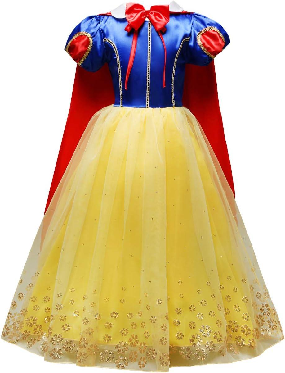 Lito Angels Niñas Disfraz de Princesa Blancanieves Fiesta de Halloween Disfraces con Capa Talla 3-4 años