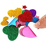 180 Pieces Glitter Foam Stickers Self Adhesive, Stars and Mini Heart Shapes Glitter Stickers for Kids Arts Craft Supplies Greeting Cards Home Decoration