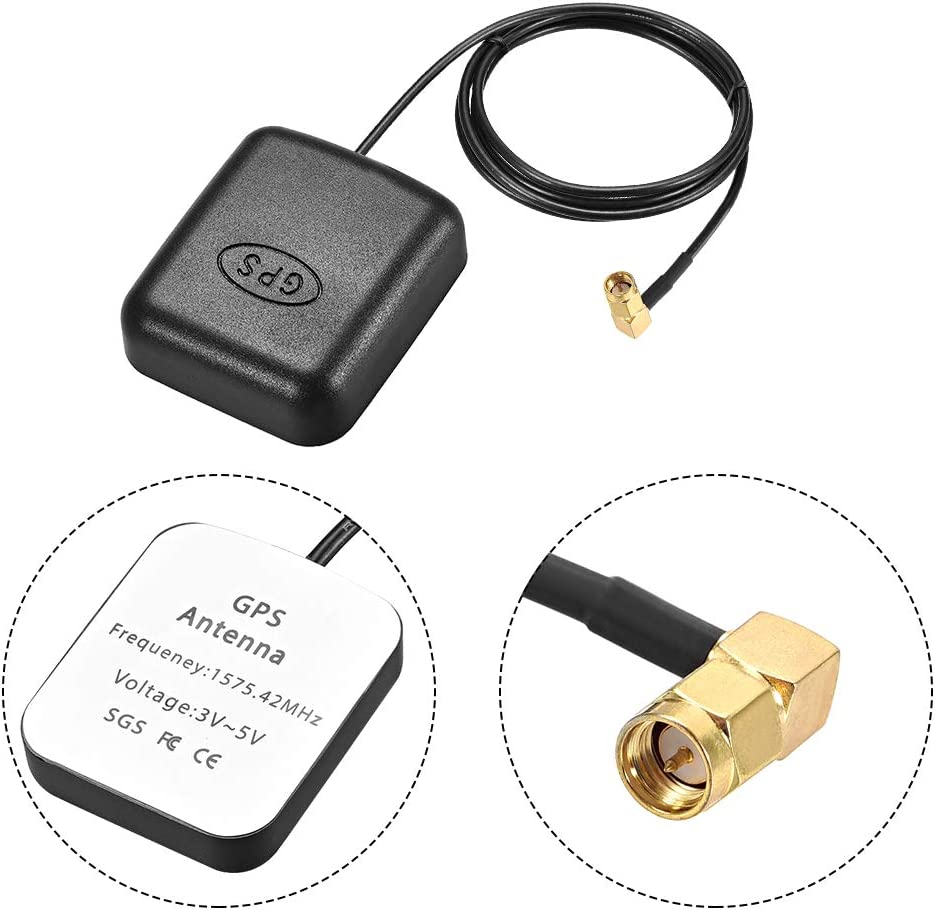 uxcell GPS Active Antenna SMA Male Plug 90-Degree 34dB Aerial Connector Cable with Magnetic Mount 1 Meters Wire M