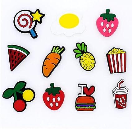 Angoter 10pcs Fruit Food Pvc Shoe Charms Shoes Accessories Fit Bracelets Croc As Kids Party Xmas Gift Random Style Amazon Co Uk Kitchen Home