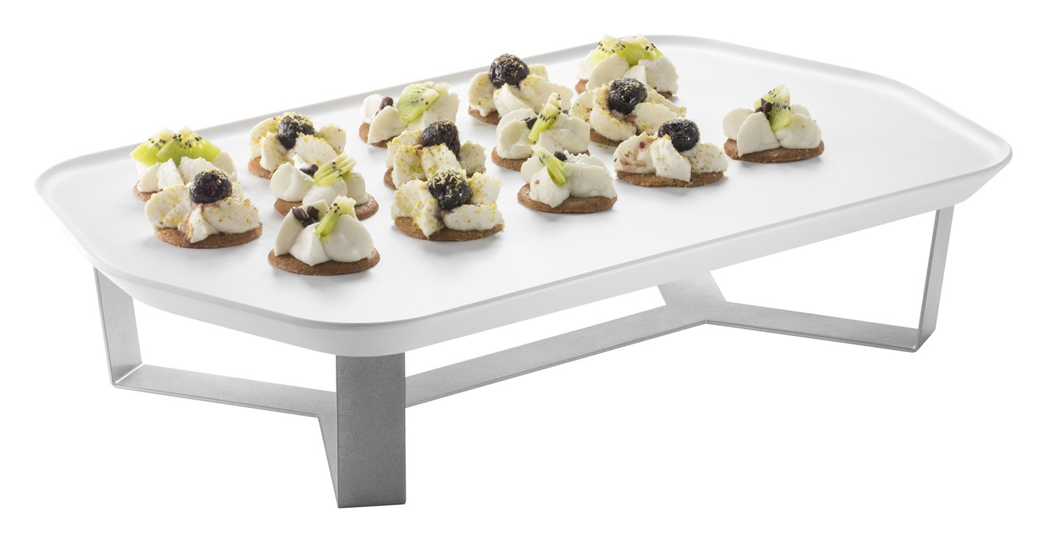 Rosseto SM271 Forme Melamine Tray and 4' Riser Set, Rectangle, White (Pack of 2) Rosseto - BISS