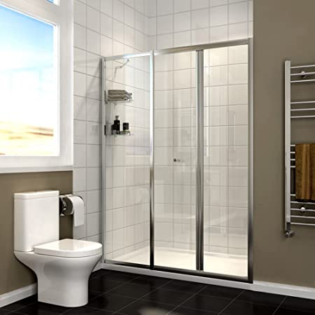 Elegant 1100mm Bi Fold Shower Enclosure Screen Glass Shower Cubicle Door With Inline Panel And Shelves Stone Tray And Waste Amazon Co Uk Kitchen Home