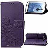 samsung galaxy s3 flip cases - Galaxy S3 Case,Galaxy S3 Flip Stand Case,LEECO Card Slots Wallet PU Leather Magnetic Closure Folio Kickstand Protective Case Cover for Samsung Galaxy S3 Luck Clover Purple