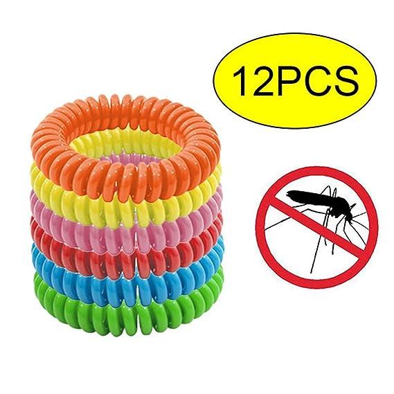 KOBWA Mosquito Banda, 12 Unidades de Pulseras elásticas de Mosquitos con diseño de Dieta Libre de Mosquitos repelentes, 100% Seguro para Adultos y niños, Dura hasta 240 Horas