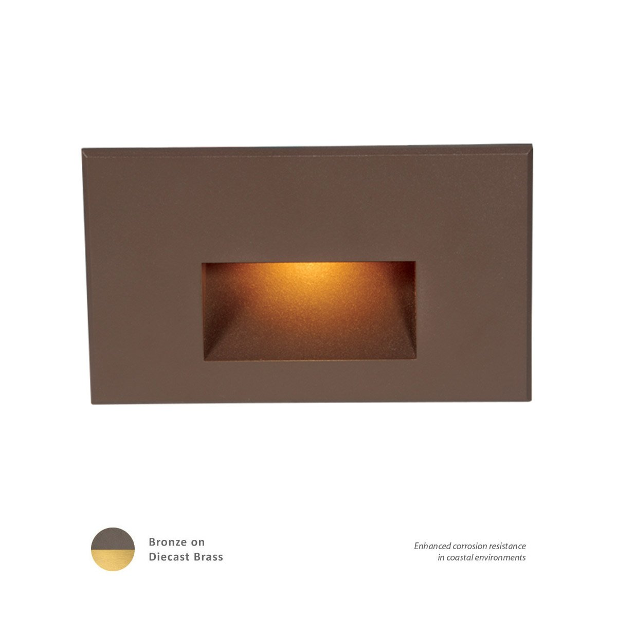 WAC Lighting WL-LED100-AM-BBR Ledme Horizontal Amber Step and Wall Light, Bronzed Brass