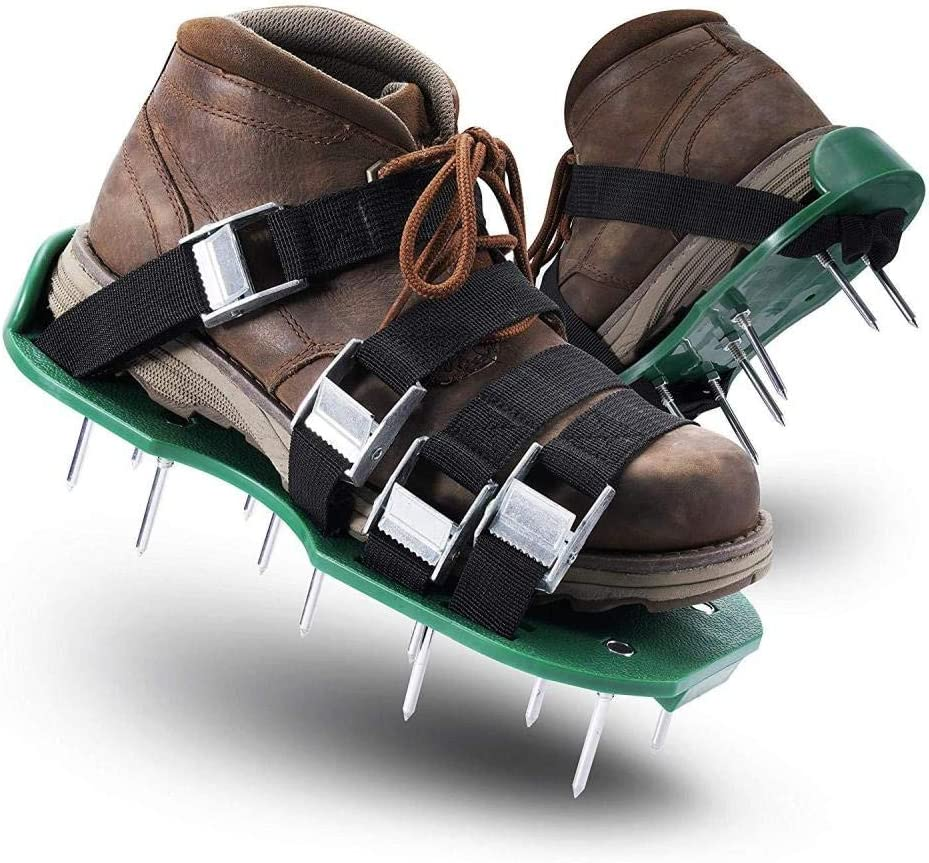 Sturdy Universal Size for Men and Women with 30X13CM Lawn aerated Shoes 4 Heavy Duty Spikes Inflatable Sandals Soil with Adjustable Shoulder Strap