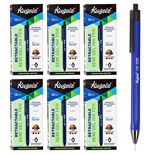 KUGELZ Retractable Semi Gel Pen 72/Set   Long Lasting Blue Tint Writing Pens – Precise, Quick Dry, Slim, Ergonomic Use – Best for Office, School– 0.7 mm Fine Point + Bulk Pack of 72 (Permanent Papermate Pen)