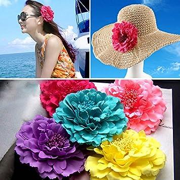 JasmineLi Fashionable Seaside Vacation Flower Peony Hair Clips with Wedding Bridal Bridesmaid Prom Festive Hairpin Brooch