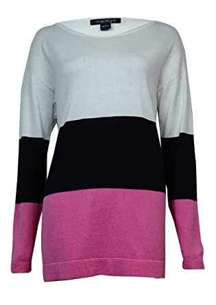 August Silk Women s Colorblocked Cotton Blend Sweater at Amazon ... 0ec29171c