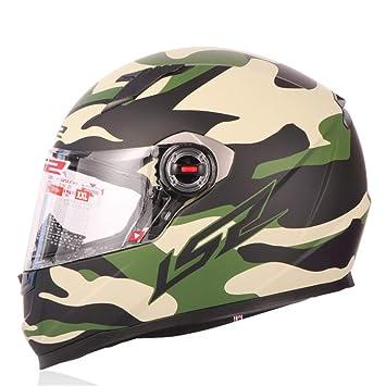 LIDMOTO Cascos de Moto para Adultos Full Face Sport Bike Desmontable,Camouflage,L