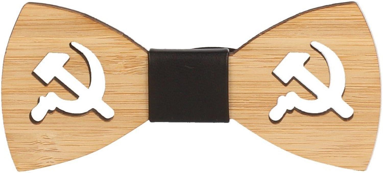Snobbop Pajarita Woody Rusia bambú madera cierre de gancho corbata ...