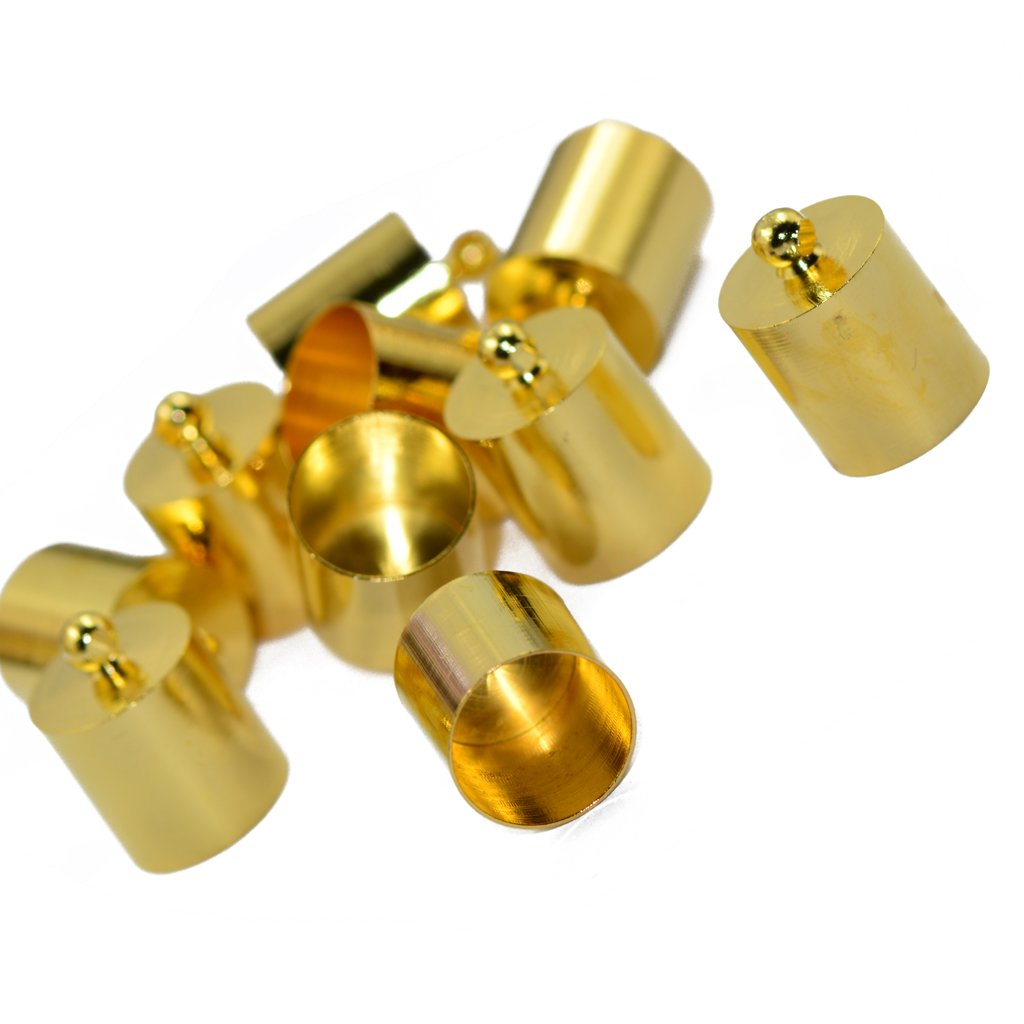 Flameer 10pcs End Bead Cap For 7mm 8mm Cord Jewelry Necklace Findings Charms Gold