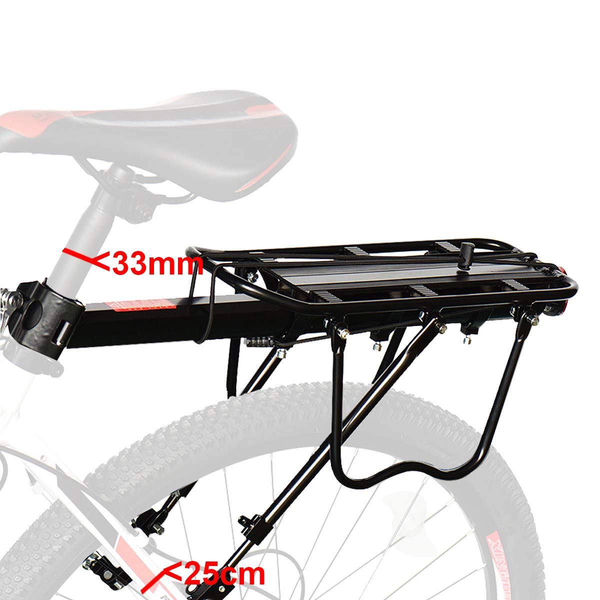 Bicycle Carrier Racks Anti-Corrosion And High Hardness Fit Almost Bikes Mountain Bike Etc. Bike Luggage Cargo Rack Strong Aluminium Alloy Material 90Kg Capacity Bicycle Rear Rack Road Bike
