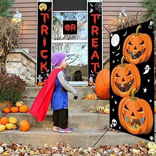 Halloween Party Bags Au (Auihiay Halloween Door Banner and Halloween Bean Bag Toss Game Set for Halloween Door Decoration Outdoor Indoor Yard Bar Halloween)