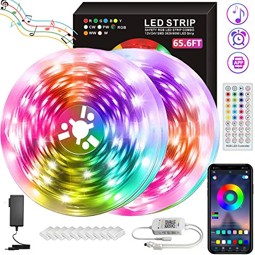 65.6FT LED Strip Lights, 20M RGB 5050 LEDs Color Changing Tape Light Full Kit with 40 Keys Remote Control Music Sync Rope Light for Room Bedroom Party Home Kitchen Indoor Decoration (32.8ftX2)