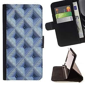 For Apple (4.7 inches!!!) iPhone 6 / 6S Case , A cuadros azul del modelo 3D- la tarjeta de Crédito Slots PU Funda de cuero Monedero caso cubierta de piel