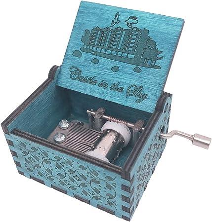 Castillo en el Cielo Caja de música manivela Caja Musical Tallada Madera Regalo Musical Play Carry You de Castle in The Sky, Madera, Azul, Azul: Amazon.es: Hogar