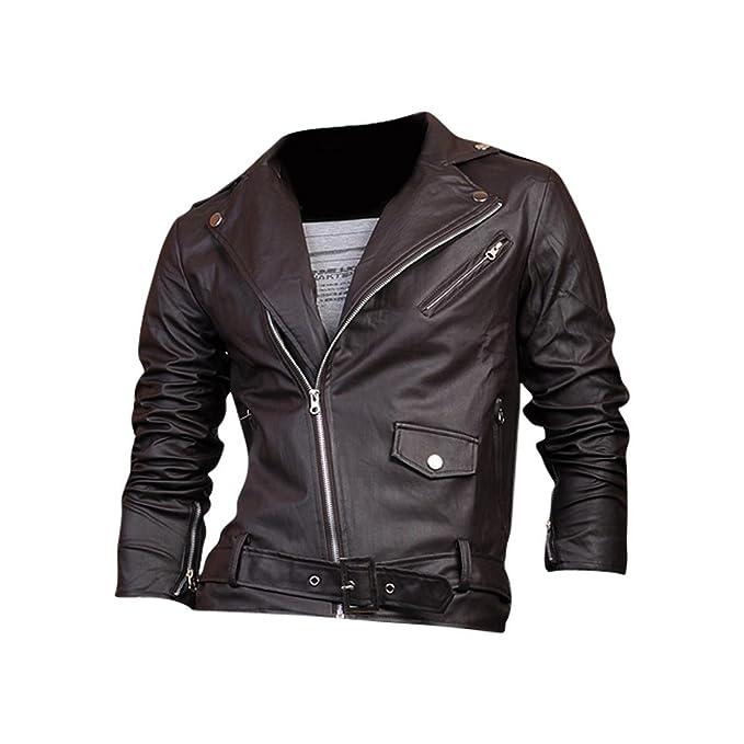 Jeansian Top De Cuero De Abrigos De Moda para Hombre Chaqueta Mens Fashion Jacket Outerwear Leather Top 8927 Coffee L: Amazon.es: Ropa y accesorios