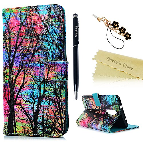 ZTE Zmax Pro Case, ZTE Z981 Case, Mavis's Diary PU Leather Protective Wallet Case with Shockproof TPU Inner Bumper Magnetic Card Slot Flip Cover with Bling Dust Plug & Pen - Painted Forest