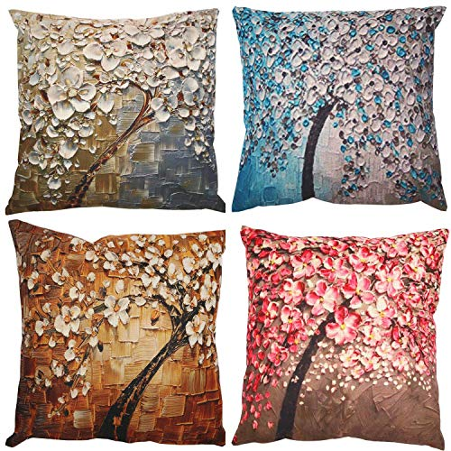 ZUEXT Pack of 4 Decorative 3D Oil Painting Trees Indoor Outdoor Pillow Cushion Cover Set, Cotton Linen Throw Pillow Covers for Sofa Bedroom Car Couch Bench, Square Pillowcases 18 x ()