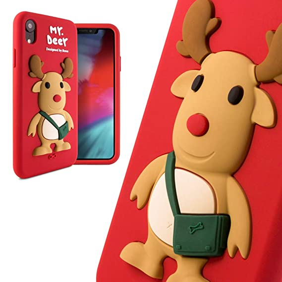 2a084ec9bae3c Bone Collection iPhone XR Case, Cute 3D Cartoon Animal Character Silicone  Case Kids Girls Women Design for iPhone XR 2018, Qcase Series - Mr. Deer ...