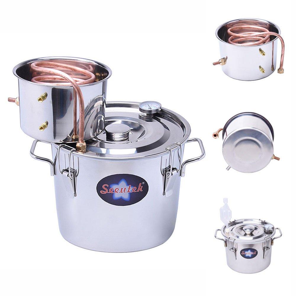 Seeutek 2 Gallon 8L Water Alcohol Distiller Copper Tube Moonshine Still Spirits Home Brew Wine Making Kit Stainless Steel Oil Boiler by Seeutek