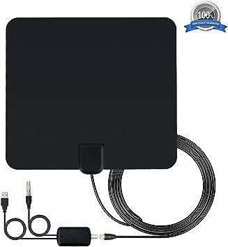 Antena de TV Interior,Nextbox Amplificador Antena Digital HDTV,50 Millas Gama de Recepción, 5M Cable Alto Rendimiento,Ultra Delgado Amplificador de ...