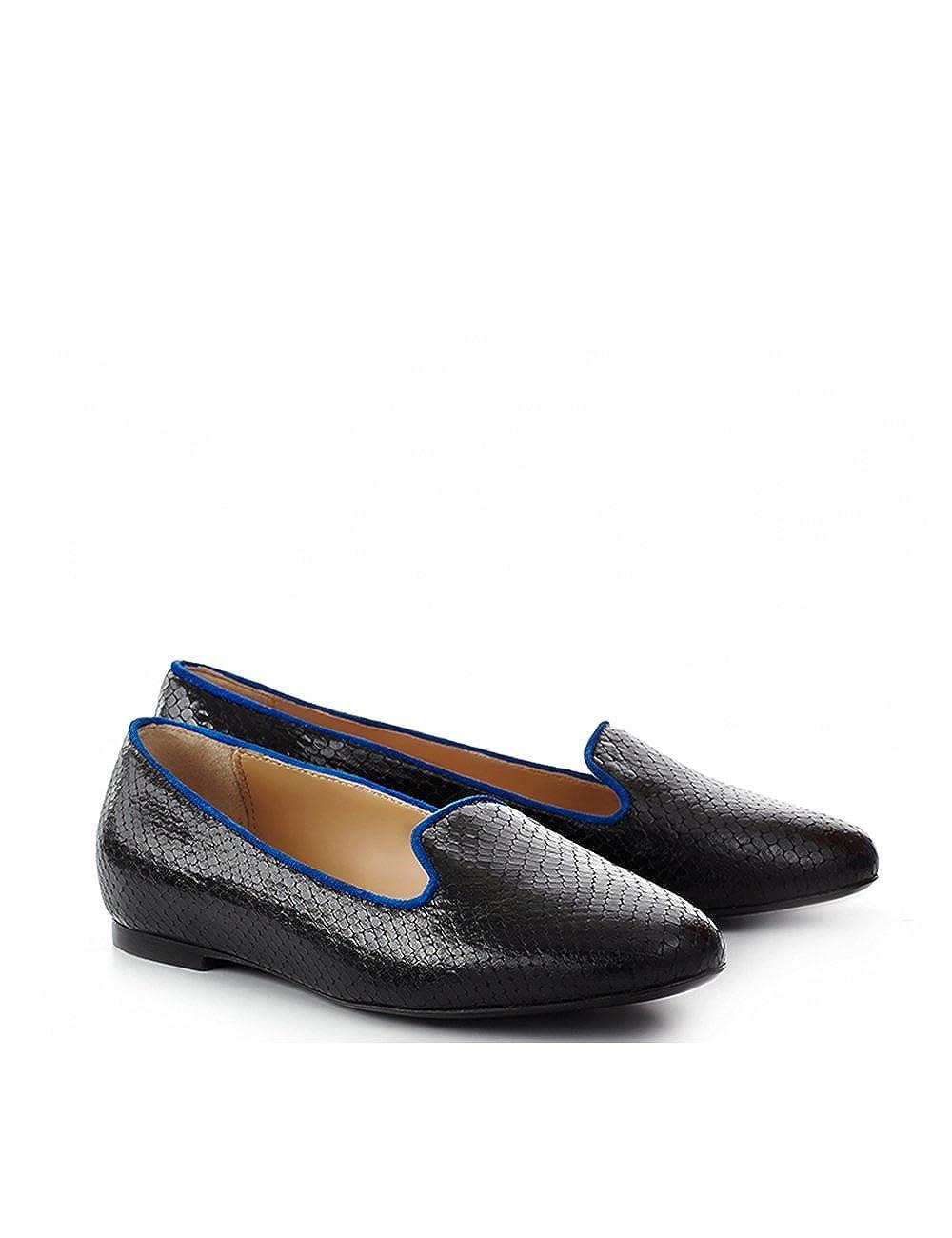 ShoeVita handgefertigte Loafer Damen Leder Slipper Python