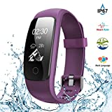 (US) Fitness Tracker,Touch Screen Waterproof Activity Tracker with Heart Rate Monitor Watch Bluetooth Smart Watch Sleep monitor Pedometer Wristband Calorie Step Counter Watch for Android & iOS (Purple)
