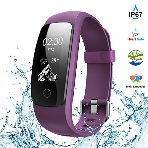 Fitness Tracker,Touch Screen Waterproof Activity Tracker with Heart Rate Monitor Watch Bluetooth Smart Watch Sleep monitor Pedometer Wristband Calorie Step Counter Watch for Android & iOS (Purple)